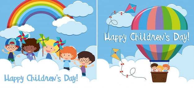 Twee gelukkige kinderdagkaart met kinderen in ballon