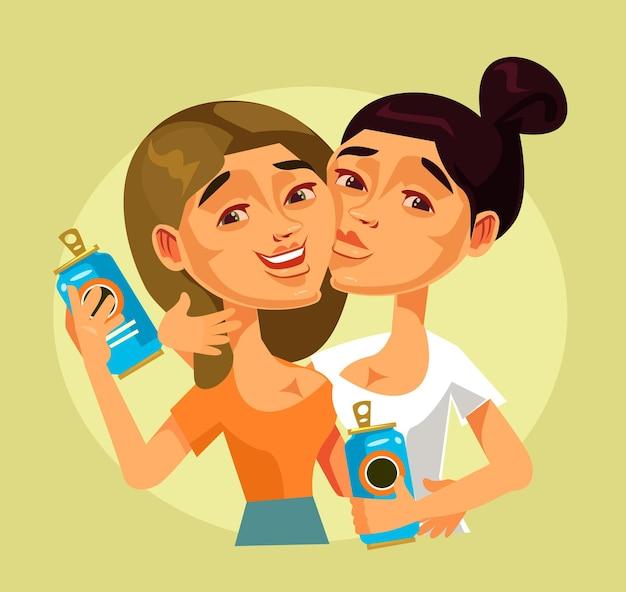 Twee gelukkige lachende jonge vrouwen beste vrienden karakters bier drinken en plezier hebben.
