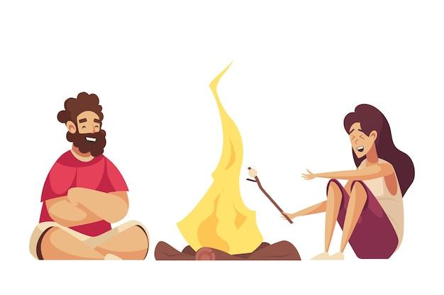 Twee gelukkige tekenfilmmensen die marshmallow op kampvuur braden