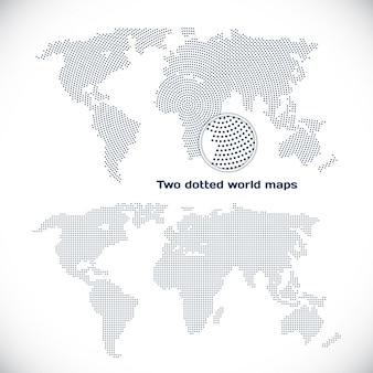 Twee gestippelde wereldkaarten