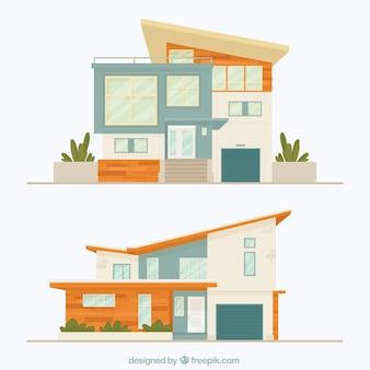 Twee gevels van moderne huizen