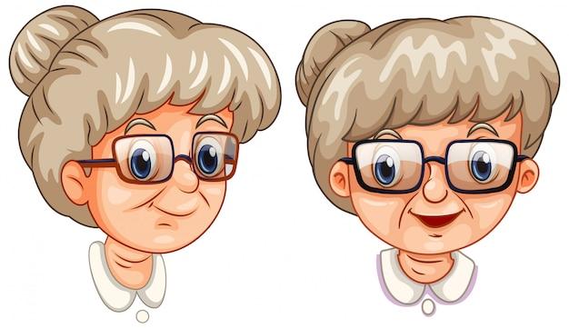 Twee gezichten van grootmoeder die verschillende glazen draagt