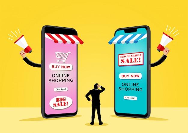 Twee gigantische mobiele telefoons die goederen verkopen