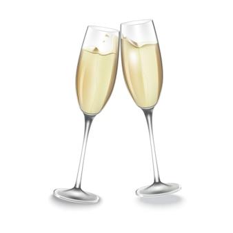 Twee glazen champagne.