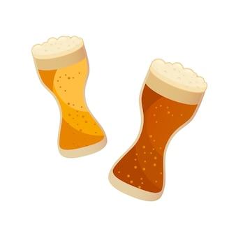 Twee glazen met donker en licht bier geïsoleerd op wit. vectorillustratie in vlakke stijl