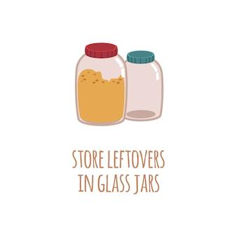 Twee glazen potten voor het bewaren van etensresten in een stijl met tekst bewaar restjes in glazen pot.