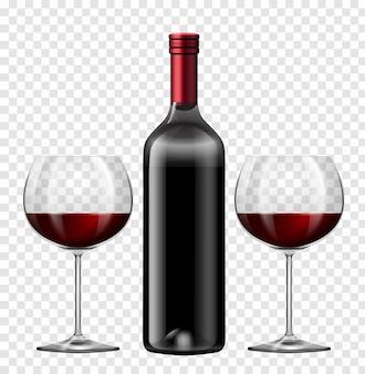 Twee glazen rode wijn en een fles wijn