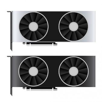Twee gpu-pictogrammen in zwarte en grijze kleuren