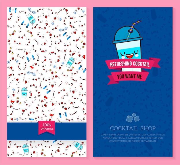 Twee grappige kaartjesontwerp met kawaii-emotiepatroon en zoete cocktail