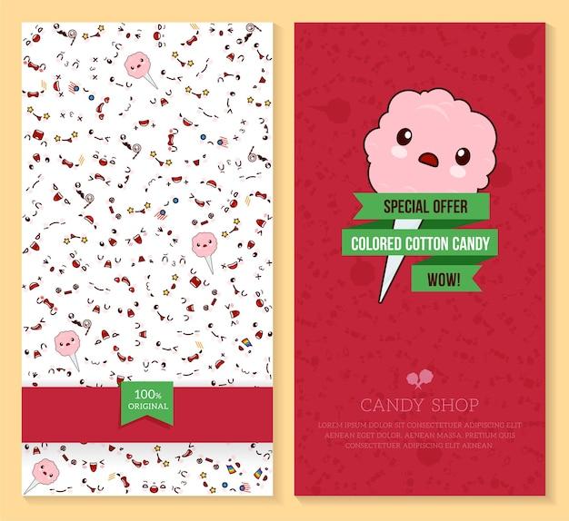 Twee grappige kaartjesontwerp met kawaii-emotiepatroon en zoete suikerspin