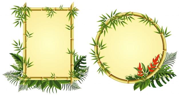 Twee grenssjablonen met bamboe en bloemen