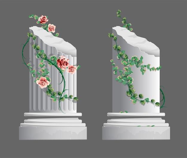 Twee griekse zuilen gehuld in bloemen. gips decoratief grieks architectonisch element. geïsoleerd.