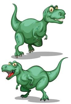 Twee groene dinosaurussen op wit