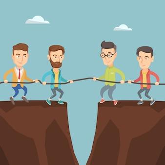 Twee groepen mensen uit het bedrijfsleven touw trekken.