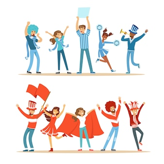 Twee groepen voetbal sportfans ondersteunen teams in rode en blauwe kostuums schreeuwen en juichen in het stadion