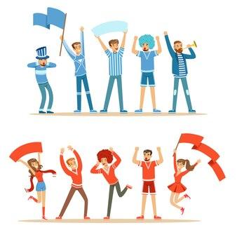 Twee groepen voetbalsportfans ondersteunen teams in rode en blauwe outfits die schreeuwen en juichen in het stadion