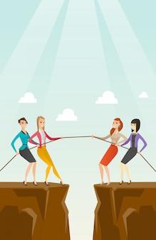 Twee groepen zakenmensen trekken touw.