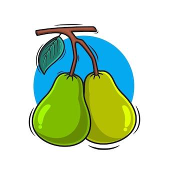 Twee guave pictogram vectorillustratie voor sticker