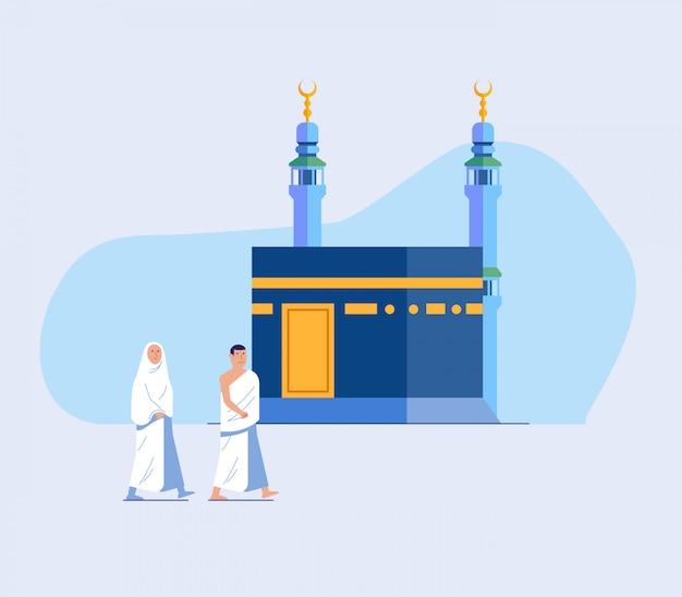 Twee hadj bedevaart lopen over kaaba