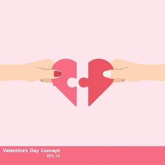 Twee hand houden van het verbinden van twee een stuk puzzel van liefde