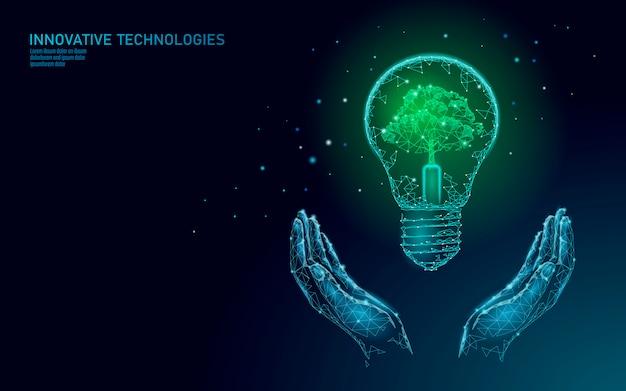 Twee handen die gloeilampenlamp dragen die het concept van de energieecologie besparen. veelhoekige lichtblauwe spruit kleine plant zaailing binnen elektriciteit groene energie macht illustratie