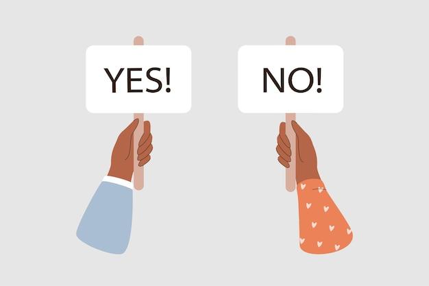 Twee handen houden borden ja en nee vast