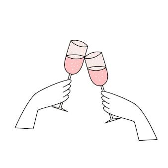 Twee handen houden glazen champagne, mousserende wijn vast. eenvoudig bruiloft icoon. doodle vectorillustratie