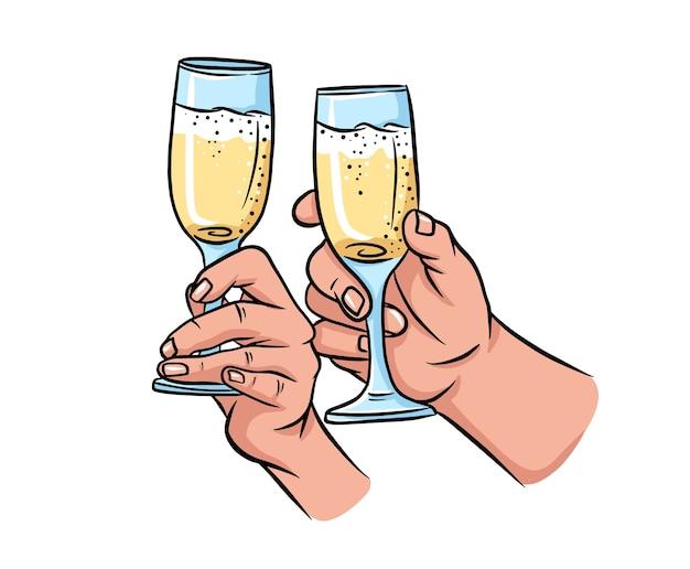 Twee handen met champagne. cartoon tekening.