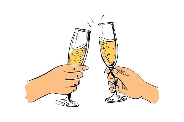 Twee handen met glazen mousserende wijn. vectorillustratie in schetsstijl