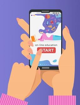 Twee handen met mobiele telefoon met educatieve app op het scherm. e-learning op afstand. vinger drukt op startknop