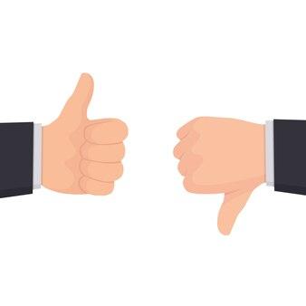 Twee handen tonen duimen omhoog en duimen omlaag borden