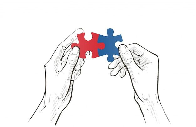 Twee handen verbinden paar puzzelstukje.
