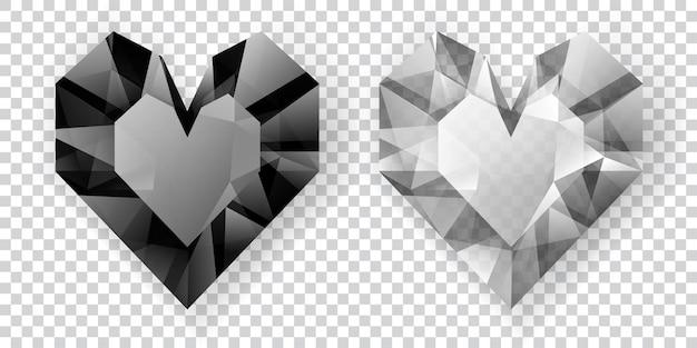 Twee harten in zwart-witte kleuren gemaakt van kristallen met schaduw op transparante achtergrond