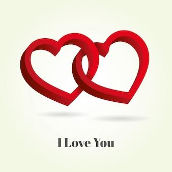 Twee harten met elkaar verweven op witte achtergrond