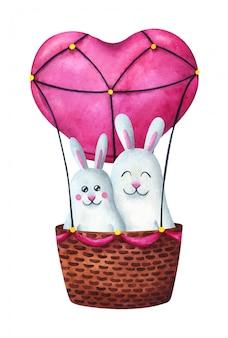 Twee hazen vliegen op een roze ballon in de vorm van een hart.