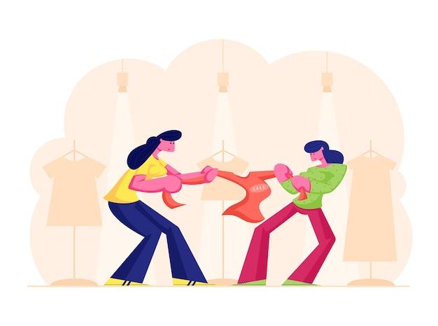 Twee hebzuchtige meisjes vechten voor rode jas in warenhuis. cartoon vlakke afbeelding