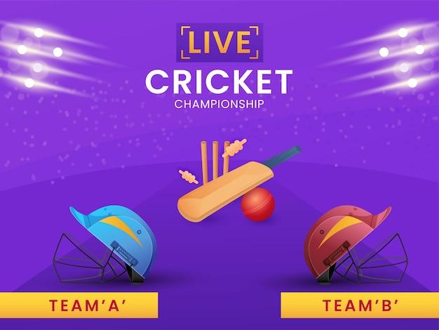 Twee helmen van deelnemen team a & b met apparatuur en lichteffect op paarse achtergrond voor live cricket championship.