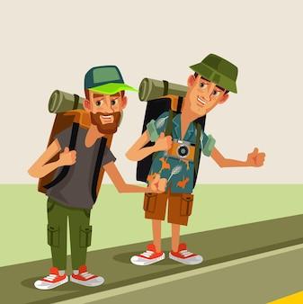 Twee hipster man lifters karakters met rugzak proberen stop auto snelweg weg reizen kink in de kabel hikingjourney vakantie concept platte cartoon grafisch ontwerp geïsoleerde illustratie