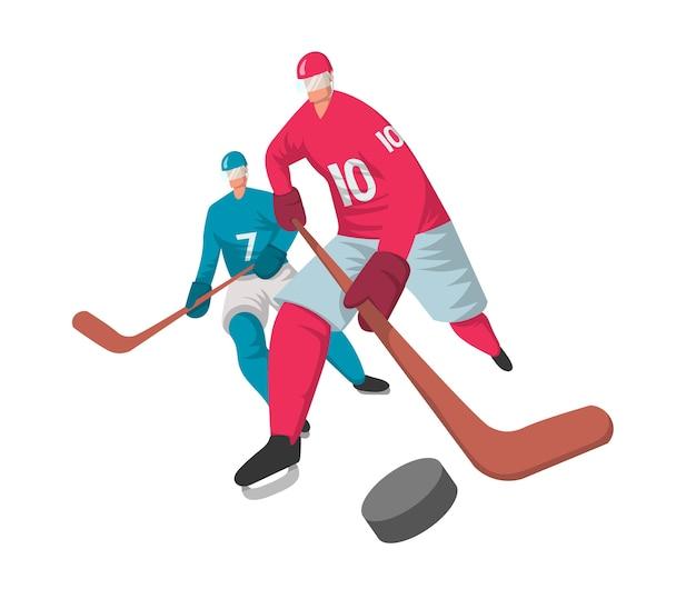 Twee hockeyspelers in abstracte vlakke stijl. , geïsoleerd op een witte achtergrond.