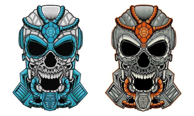 Twee hoofden van de illustratie van mecha-schedels