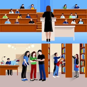 Twee horizontale achtergrond met studenten bij universitaire het luisteren spreker en het voorbereidingen treffen voor examens isoleerden vectorillustratie