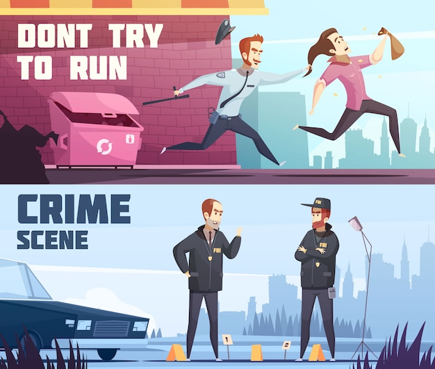 Twee horizontale banners op politie-thema