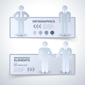 Twee horizontale zakelijke infographic banner in minimalistische stijl over relaties met zakenpartners