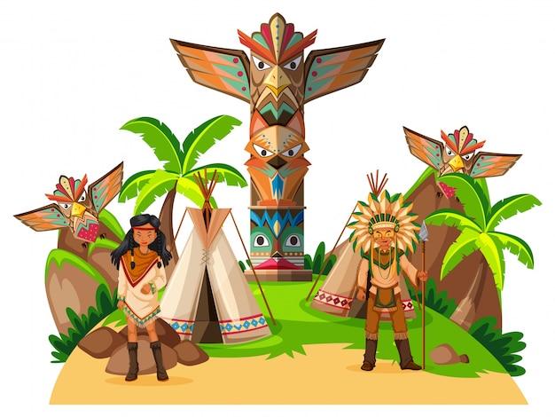 Twee indiaanse indianen in het kamp