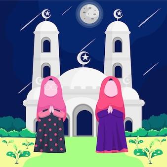 Twee islamitische vrouwen dragen hijabs in handen van de koran. daarachter staat een witte moskee die het maanlicht weerkaatst.