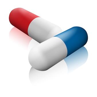 Twee isometrische capsules in verschillende kleuren met spiegelschaduwen. apotheek pillen pictogrammen.