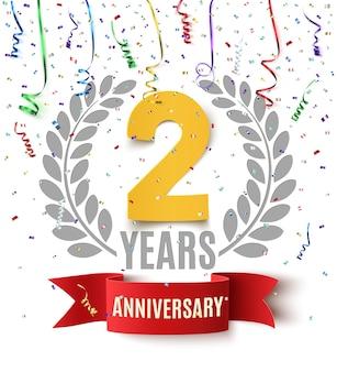 Twee jaar verjaardag achtergrond met rood lint, confetti en olijftak op wit. wenskaart, poster of brochure sjabloonontwerp.