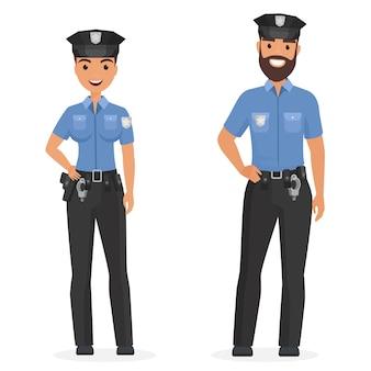 Twee jonge gelukkige politieagenten, man en vrouw geïsoleerde cartoon afbeelding