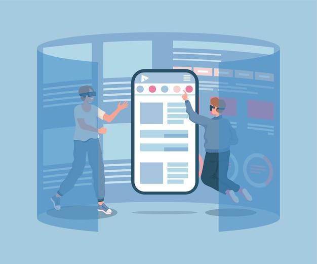 Twee jonge mannelijke personages in vr-bril smartphonescherm aan te raken