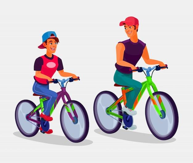 Twee jonge mannen fietsen